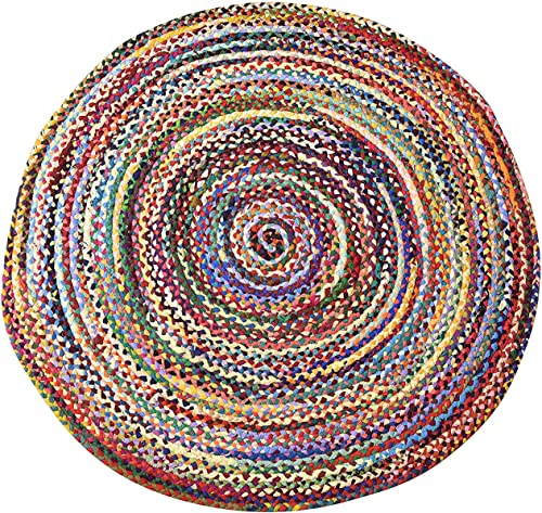 MystiqueDecors 4 ft Multicolor Round Area Rug for Living Room Braided Non-Slip Reversible Cotton Chindi Handwoven Rug 4