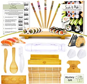 Sushi Making Kit - Make Every Type of Sushi with Rolling Mats, Maki, Onigiri, Nigiri Molds aswell as an Center Sushi Plate for the whole Family to Sit Around