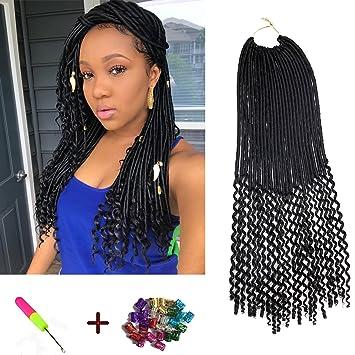 Amazon Com 6pcs 20inch Wavy Faux Locs Crochet Hair Goddess Locs