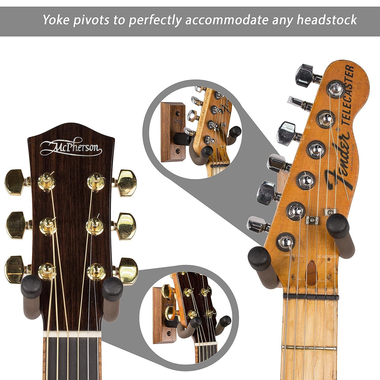 String Swing guitarra percha - Soporte para guitarras eléctricas y acústicas y bajos - Soporte accesorios hogar o estudio pared - de madera de nogal cc01 ...