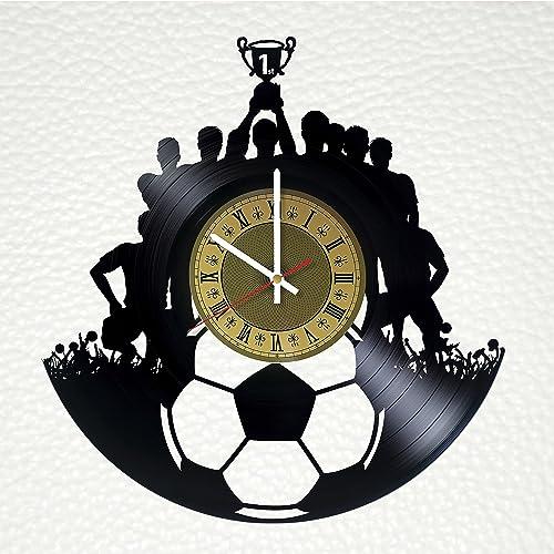 Football Soccer Vinyl Record Wall Clock Artwork Art Decor Gift Idea For Birthday Christmas Women Men Boys Girls Friends Girlfriend Boyfriend And