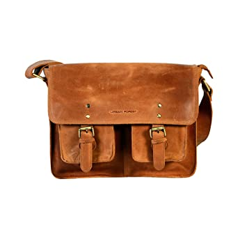 e947352d38d URBAN FOREST Leather Cognac Unisex Messenger Bag  Amazon.in  Bags, Wallets    Luggage