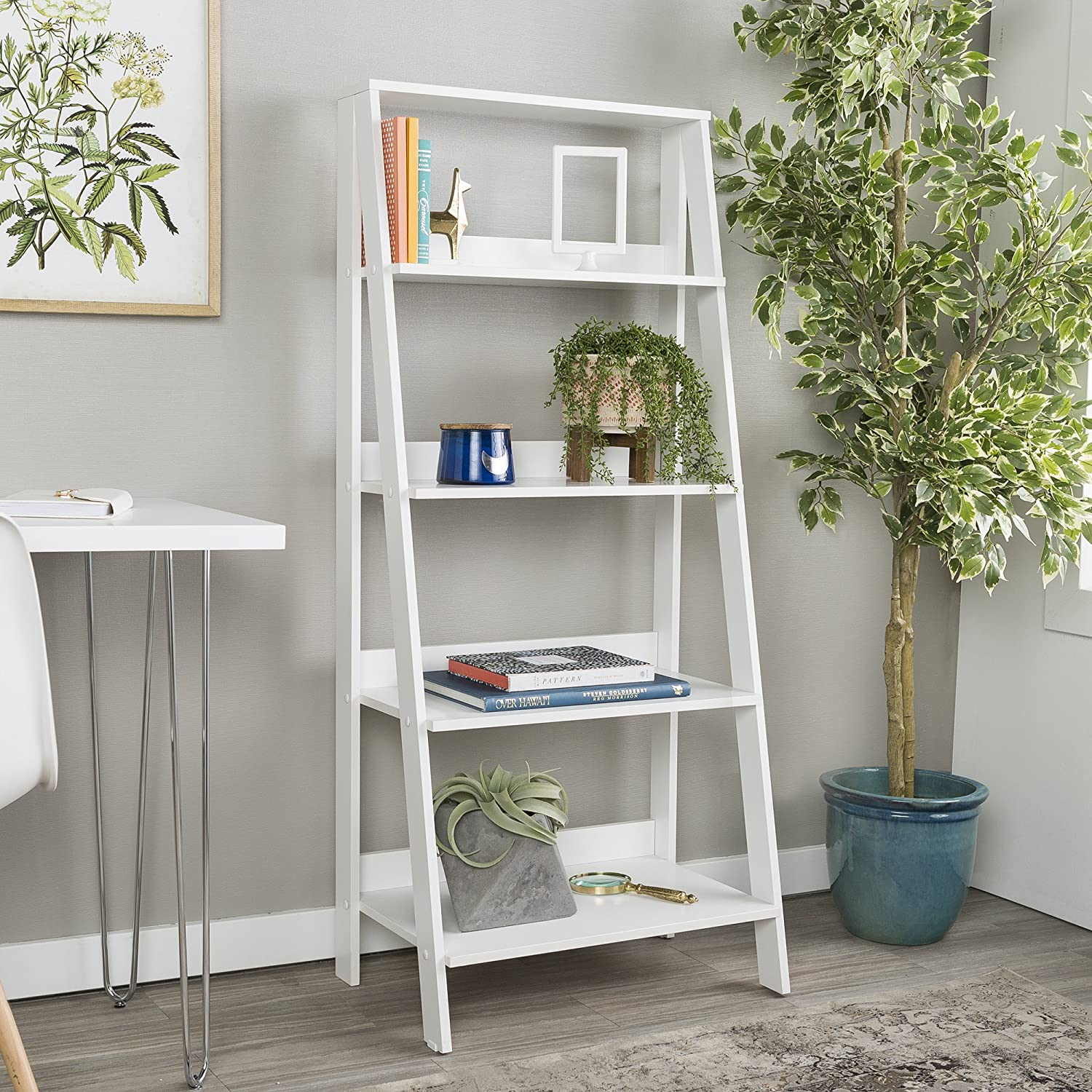 WE Furniture 4 Shelf Simple Modern Wood Ladder Bookcase Bookshelf Storage, White