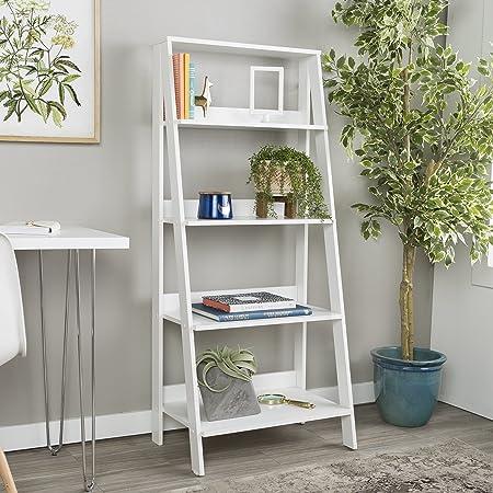 WE Furniture 55 Wood Ladder Bookshelf – White