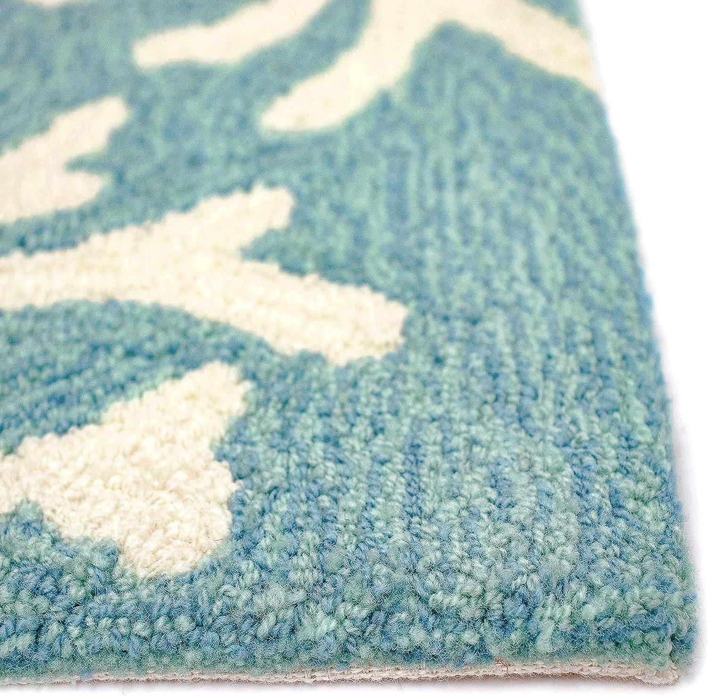 Liora Manne CAPD5162004 1620//04 Coral Border Aqua Rugs 5 Round