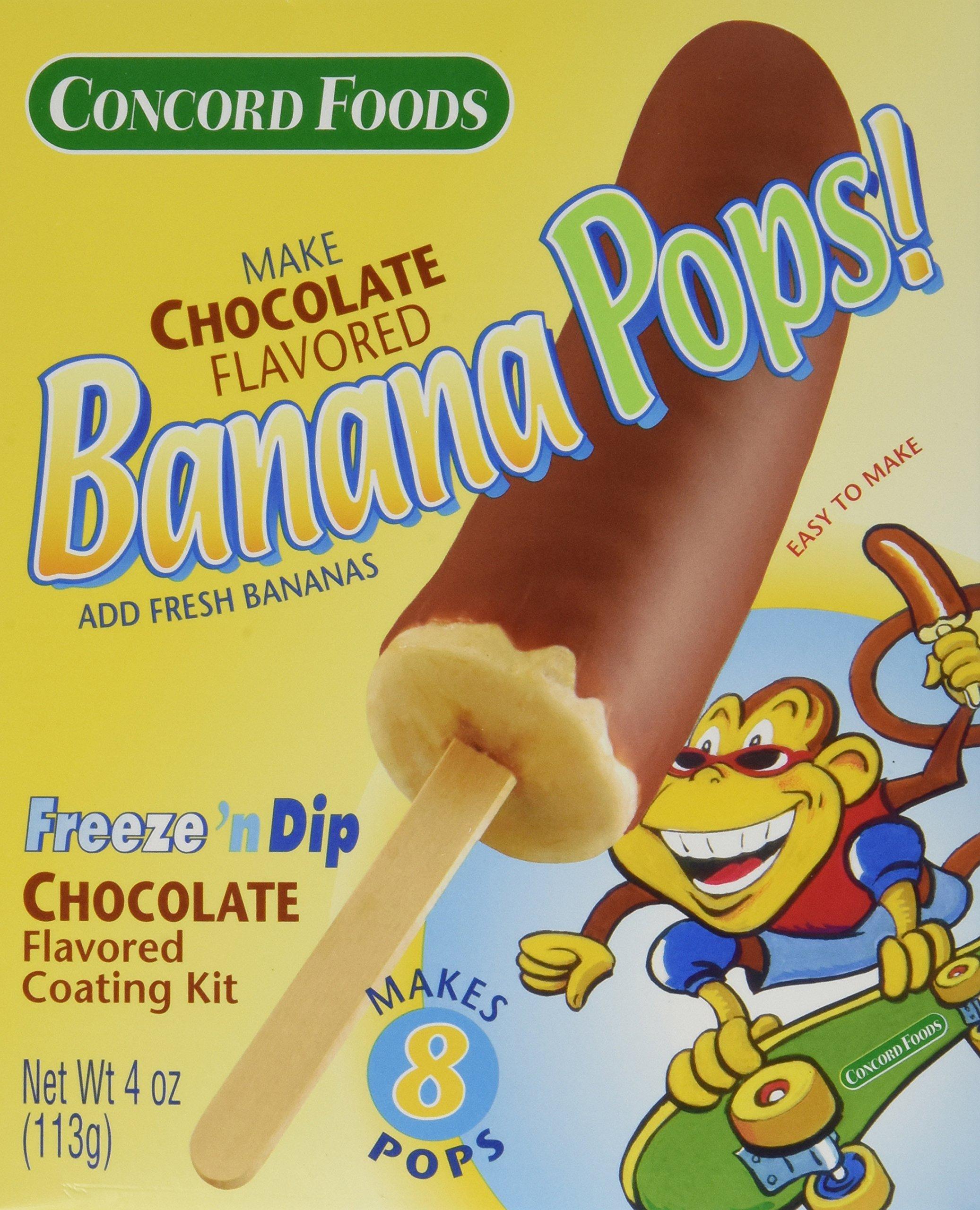 Concord Foods Banana Pops! Freeze 'n Dip Chocolate Covered Banana Coating Mix (3 Pack) 4 oz Boxes