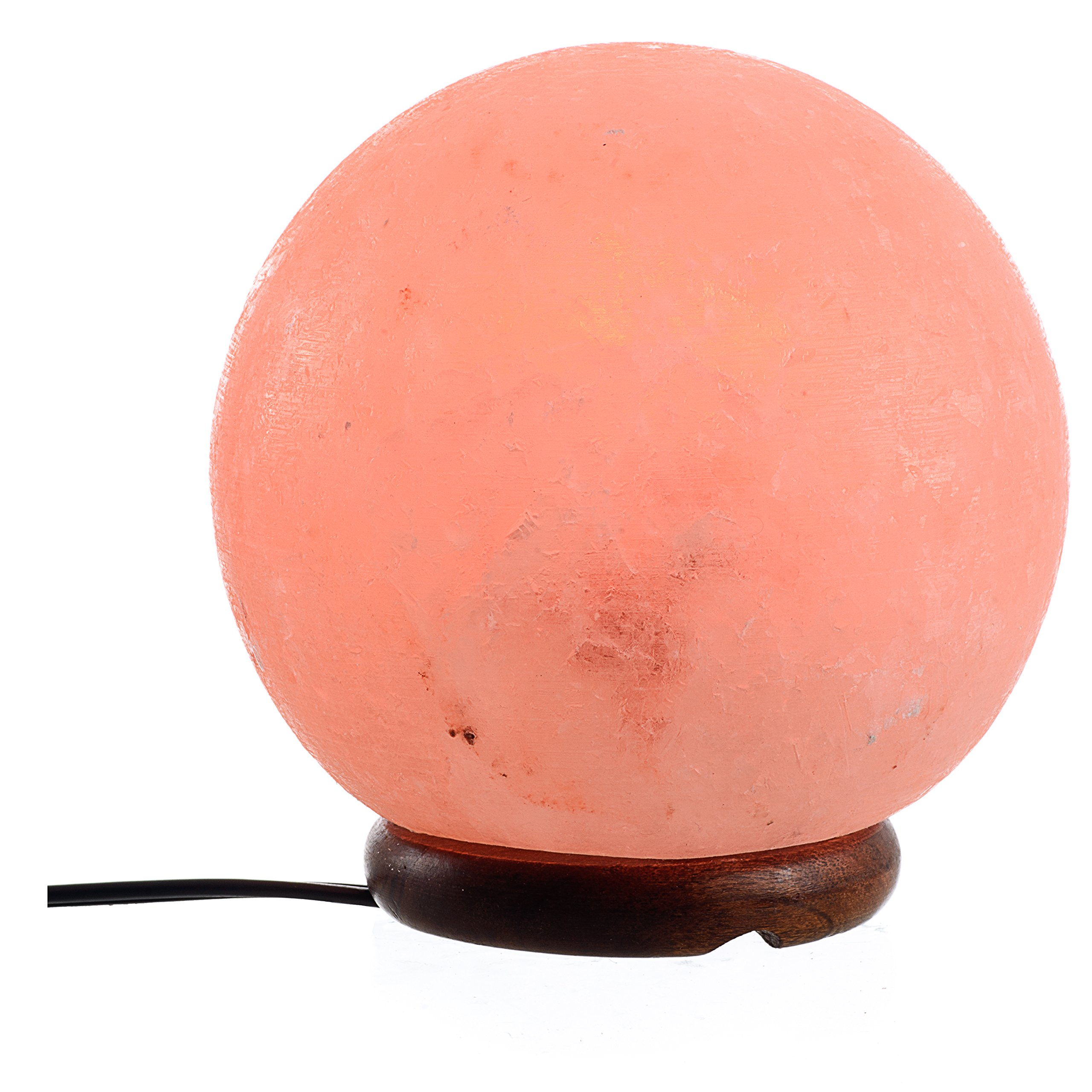 ShartPro Ball Natural Himalayan Salt Lamp - Handcrafted From Himalayan Rock Salt crystals - Beautiful Genuine Neem Wood Base - With 6'' UL Cord And Dimmable Switch + 2 Color bulbs, Clear and Red by ShartPro (Image #2)