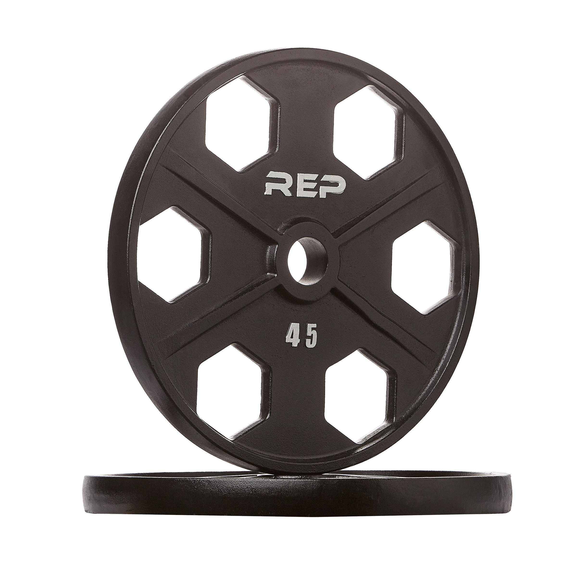 Rep Fitness Rep Black Equalizer Iron Olympic Plates, 45 lb Pair