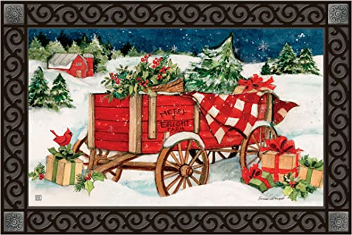 Studio M MatMates Christmas Farm Wagon Winter Christmas Decorative Floor Mat Indoor or Outdoor Doormat with Eco-Friendly Recycled Rubber Backing, 18 x 30 Inches