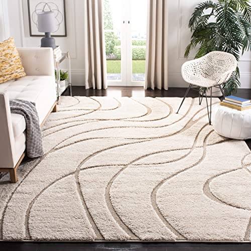Safavieh Florida Shag Collection SG471-1113 Cream and Beige Area Rug 5 3 x 7 6