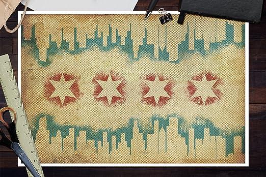 Amazon.com: Chicago, Illinois - Flag and Skyline Tapestry (24x36 ...