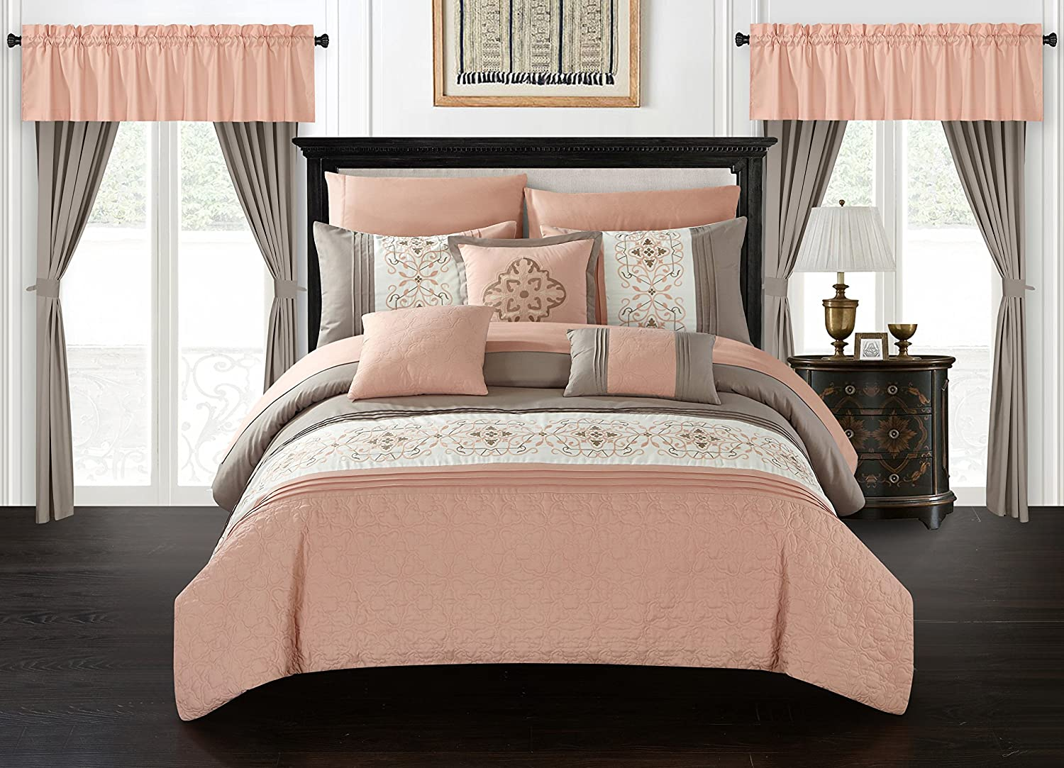 Chic Home Renard 20 Piece Comforter Set Color Block Floral Embroidered Bed in a Bag Bedding - Sheets Window Treatments Decorative Pillows Shams Included, Queen Coral