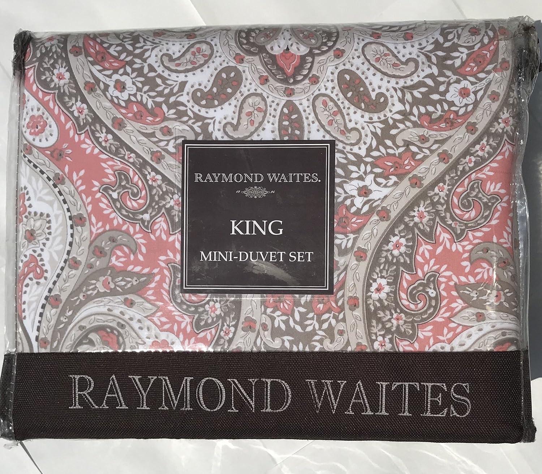 Raymond Waites Boho Medallions King Duvet Cover 3pc Set 100/% Pure Cotton Coral Peach Taupe Beige Bohemian Damask Printed Bedding