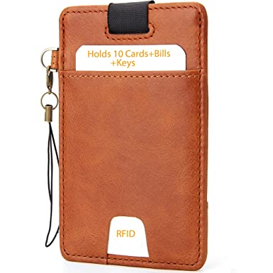 9b59e88c25a7 Slim Card Sleeve Minimalist Wallet with RFID Protection And Cards Security  Closure - iPulse Boston Series [ Full Grain Leather ] Card Holder Case - ...