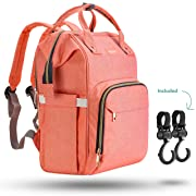 Zuzuro Diaper Mommy Bag - Waterproof Backpack w/Large Capacity & Multiple Pockets for Organization. Ideal for Travel Nappy Bags - W/Insulated Bottle Pocket. 2 Stroller Hooks Incl (Coral)