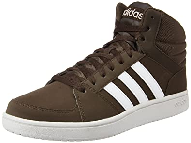 a289ecb8fc3 adidas neo Men's VS Hoops Mid Dbrown, Ftwwht and Peagre Leather Sneakers -  7 UK