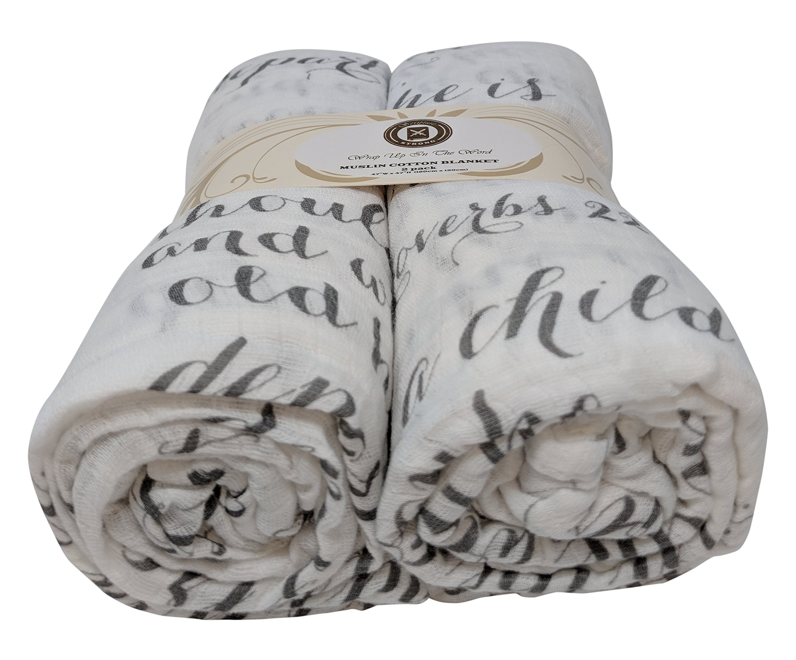 Scripture Strong Proverbs 22:6 | Best Muslin Baby Swaddle Blanket Gift Set | 100% Cotton Receiving Blankets | Extra Large (4'x4') | Gray, 2 Pack