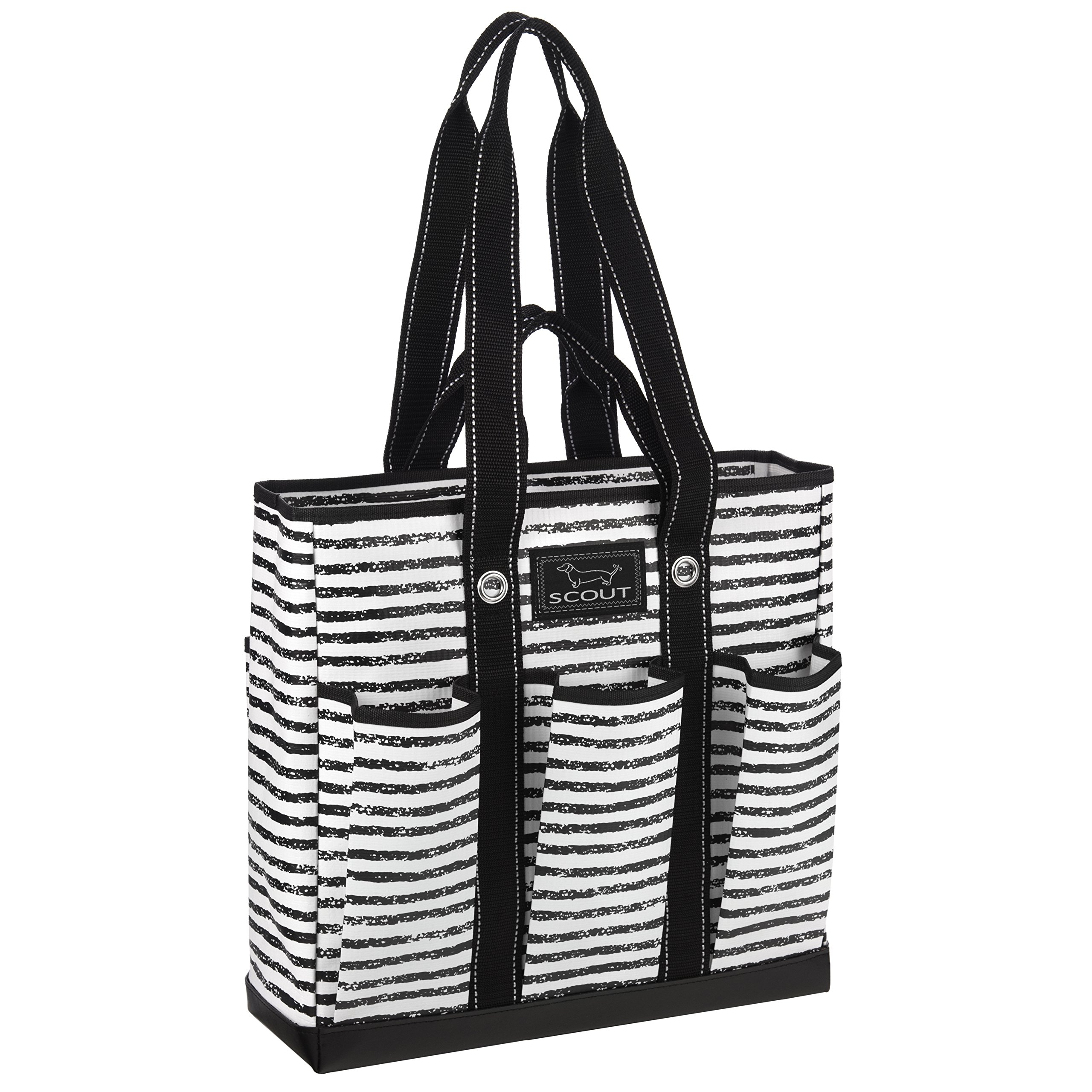 SCOUT Pocket Rocket Multi-Pocket Tote Bag, 6 Exterior Pockets, Interior Zipper Pocket, Two Handle Lengths, Water Resistant, Wipes Clean, Zips Closed, Chalk Back