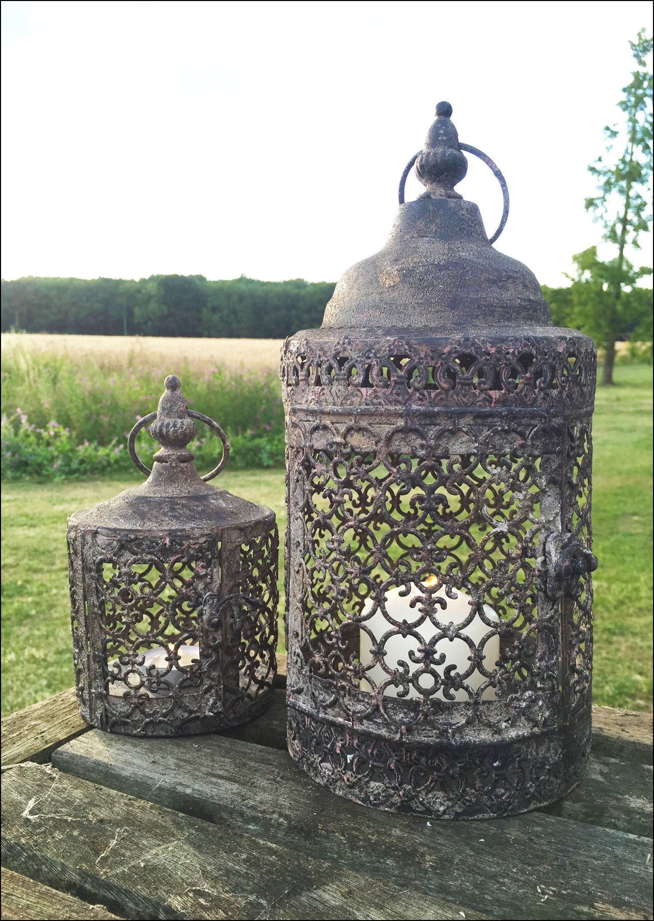 Vintage Moorish Lantern Candle Holder, Set of Two Moroccan Garden Indoor or Outdoor Use, Rustic