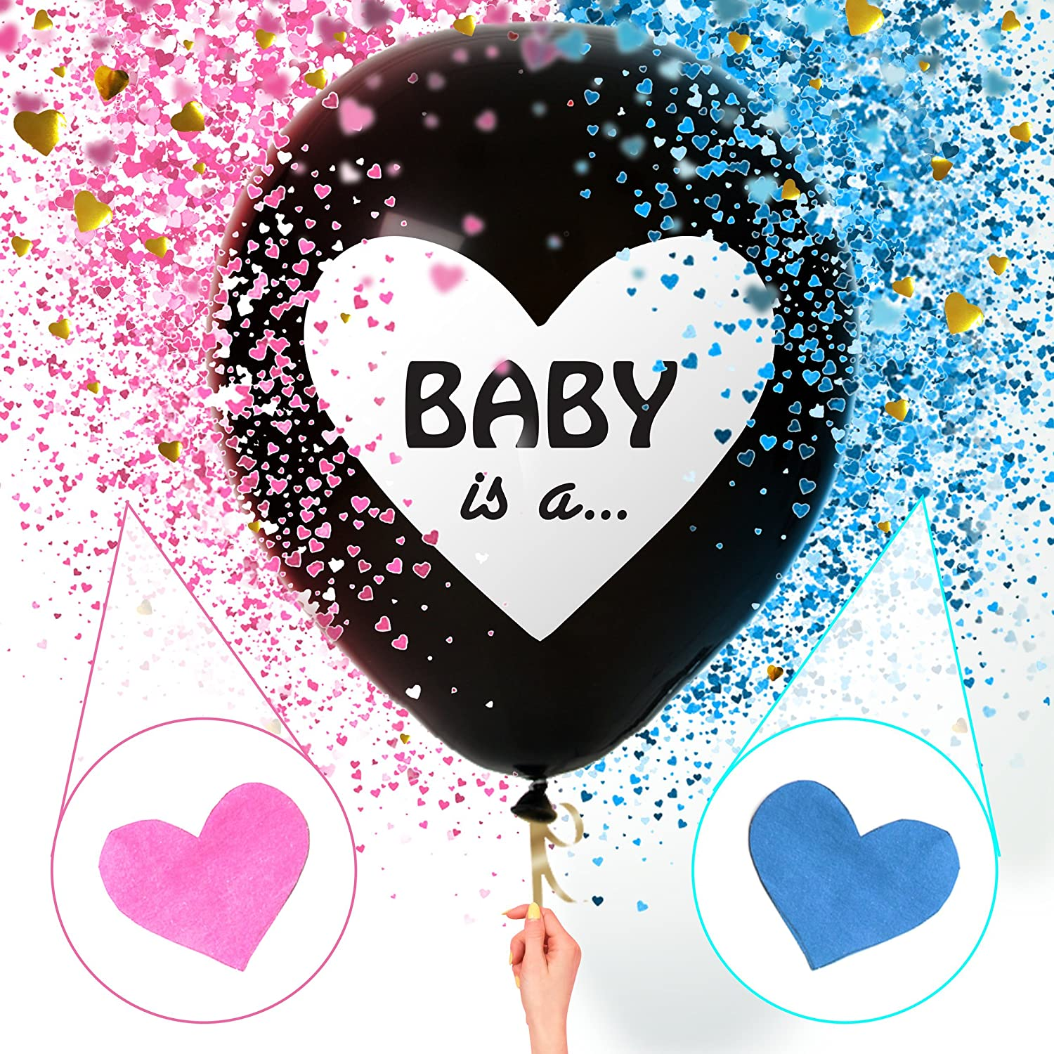 Sweet Baby Co. Jumbo 36 Inch Baby Gender Reveal Balloon | Big Black Balloons with Pink and Blue Heart Shape Confetti Packs for Boy or Girl | Baby Shower Gender Reveal Party Supplies Decoration Kit Ten Essentials