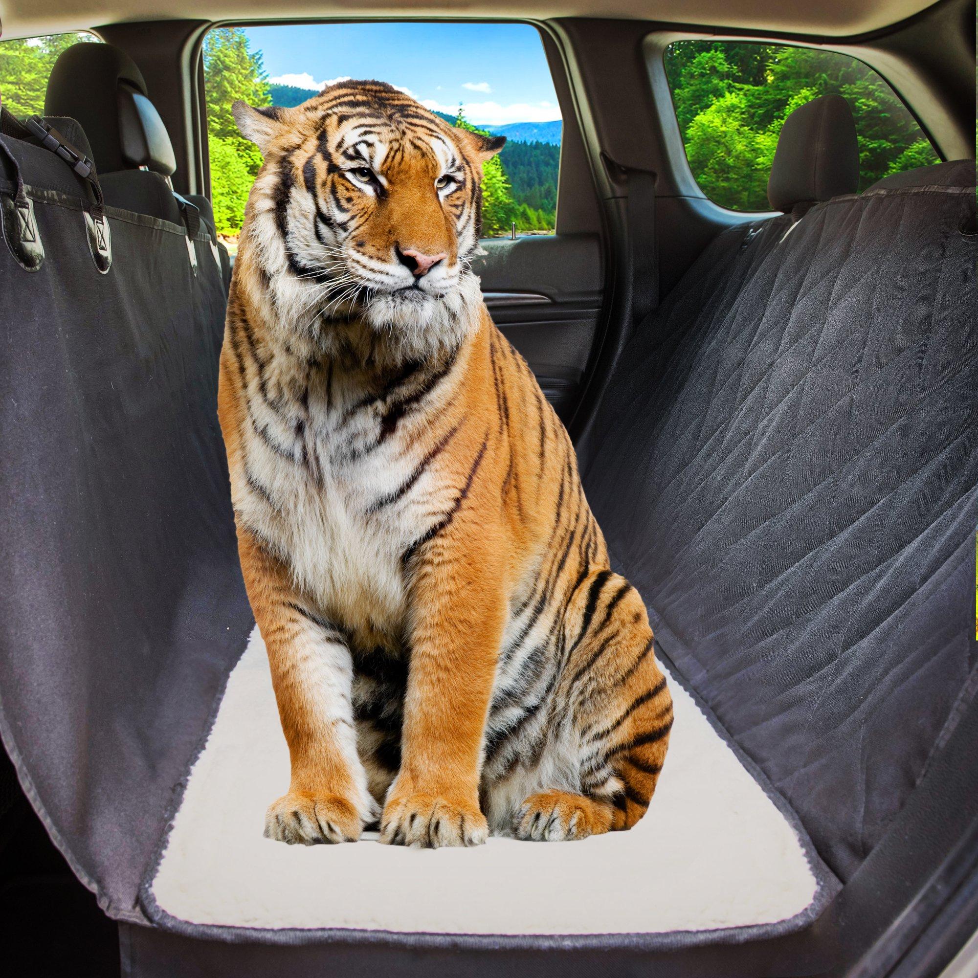 Dog Car Seat Cover Hair Free Rear Bench, Convertible Black Hammock Shaped Comfort Accessory for Cars, SUVs & Trucks. Waterproof, Nonslip, Washable Pet Backseat Protector, Pets Blanket & Bag