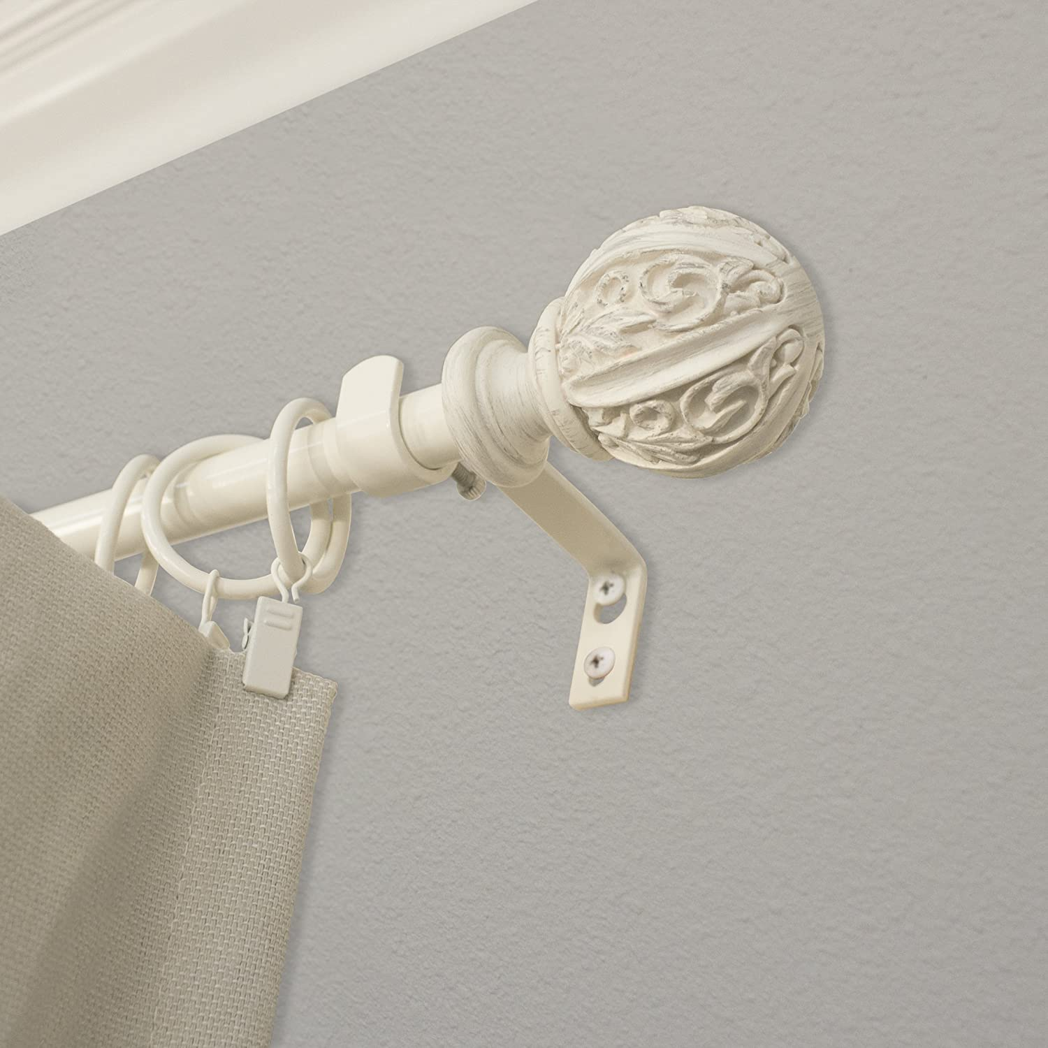 "Montevilla Leaf Ball Curtain Rod, 48-86"", Distressed White"