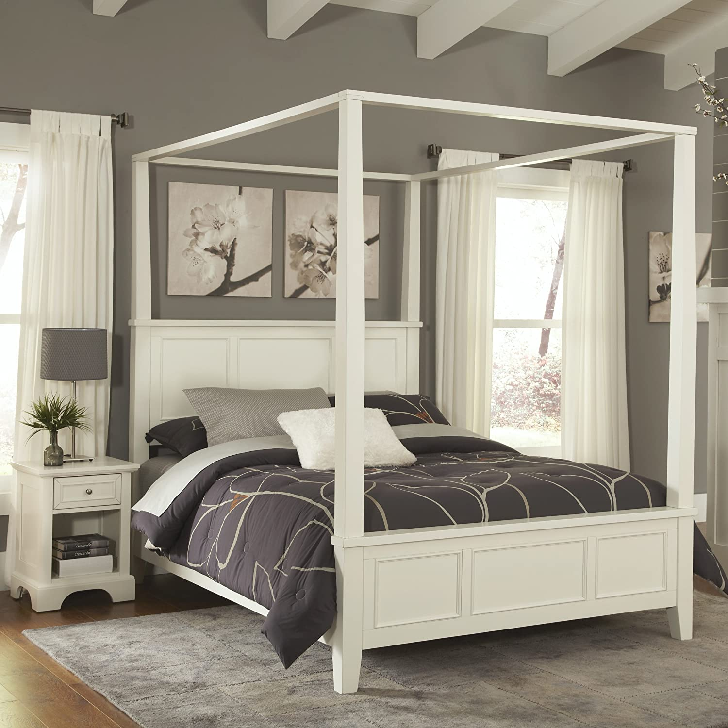 - Amazon.com: Naples White Queen Canopy Bed & Night Stand By Home