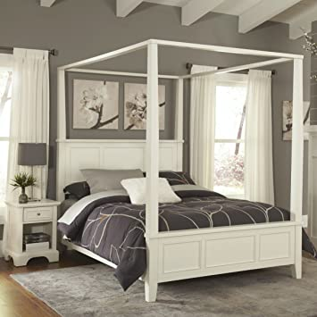 Home Styles Naples White Queen Canopy Bed and Night Stand & Amazon.com: Home Styles Naples White Queen Canopy Bed and Night ...
