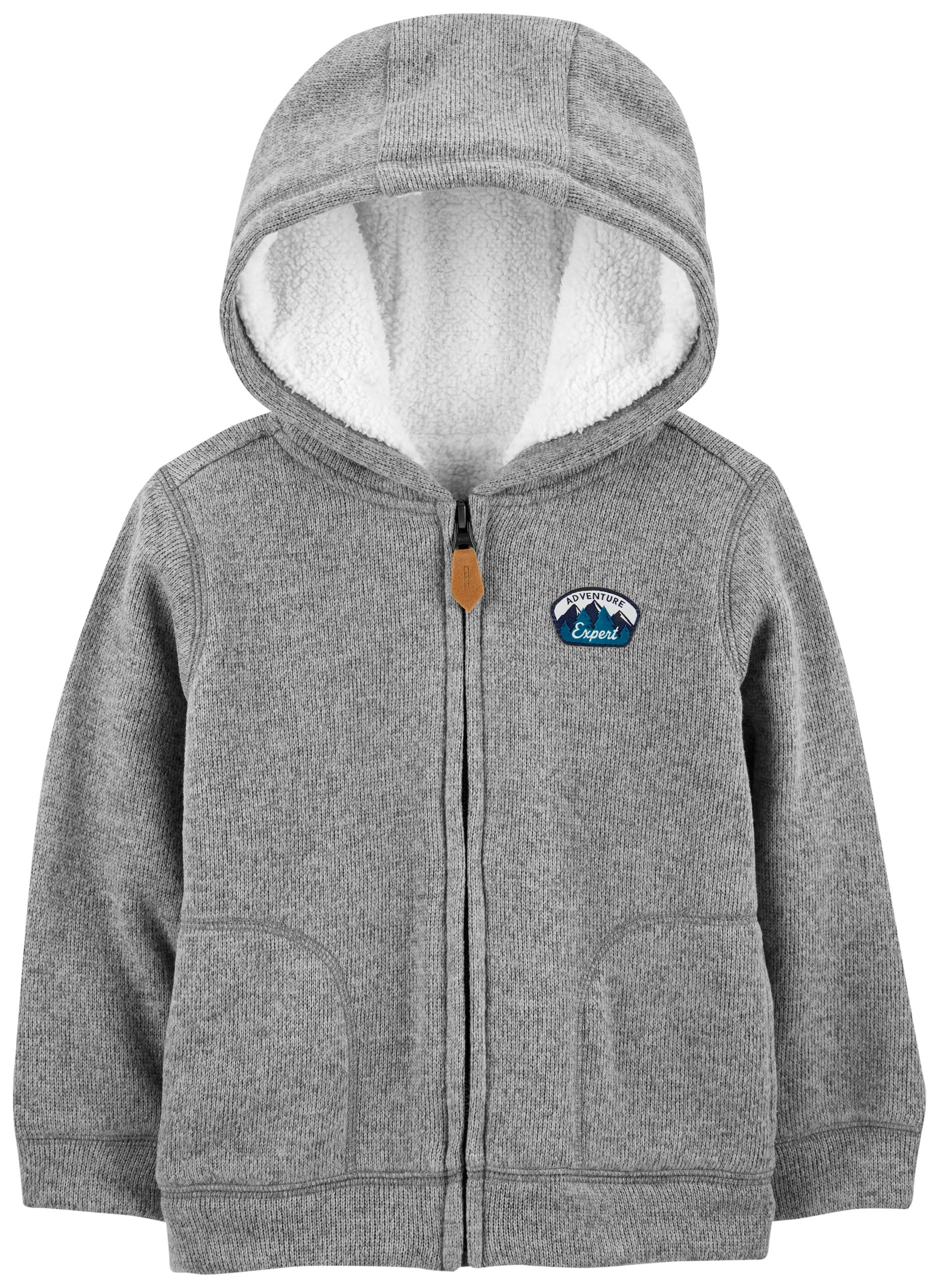 Simple Joys by Carter's Boys' Toddler Hooded Fleece Jacket with Sherpa Lining, Grey, 3T