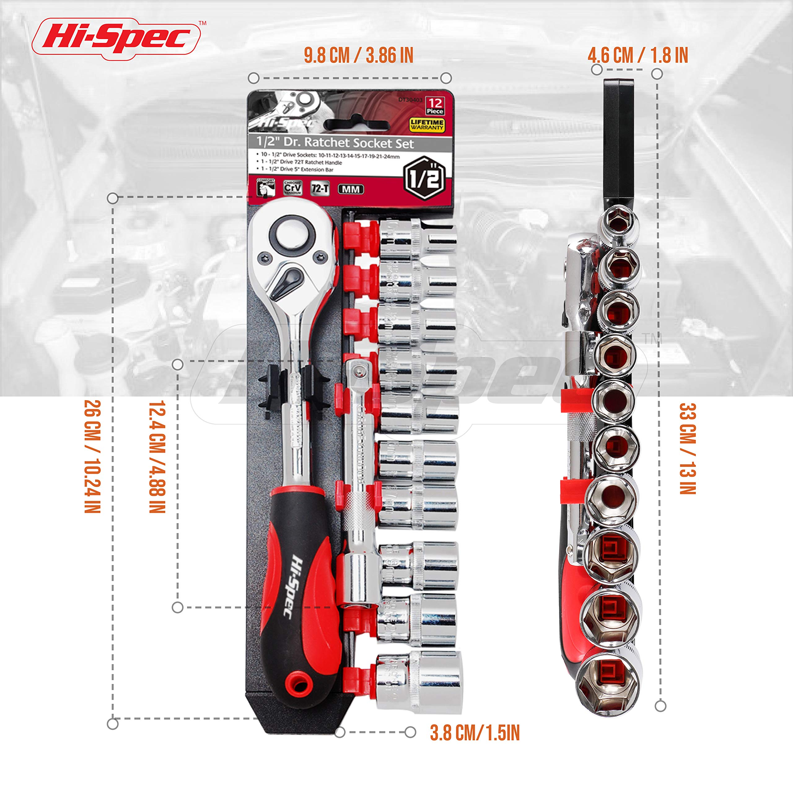 Hi-Spec 12pc 1/2'' Metric Socket Set with 72 Teeth Ratchet Drive Socket Handle with Quick-Release Function, 10-24mm Socket Sizes & 125mm Extension Bar with Convenient Storage Rack Multi-Socket Set by Hi-Spec (Image #4)