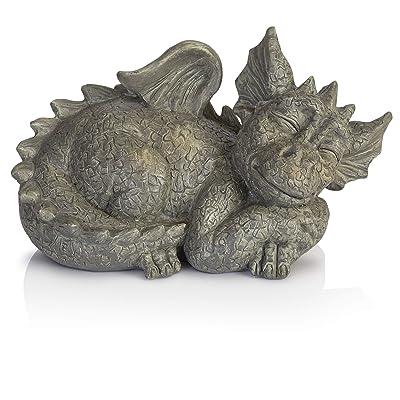 Besti Decorative Outdoor Dragon Garden Statue - Cold Cast Ceramic Statue | Lawn and Yard Decoration | Weather-Resistant Finish : Garden & Outdoor