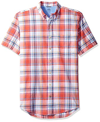 bb0b7003 Image Unavailable. Image not available for. Color: IZOD Men's Big and Tall  Saltwater Dockside Chambray Plaid Short Sleeve Shirt ...
