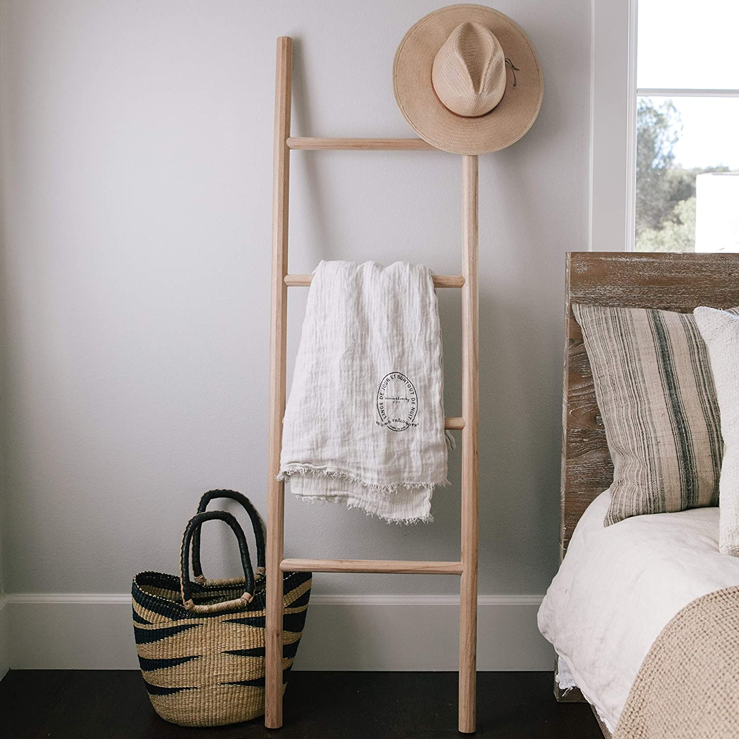 Natural Wood Blanket-Ladder by Sandstone & Sage| Designer Finds: Bringing Natural Elements Into Your Home | Jade and Sage Interior Design | eDesign Tribe Blogs