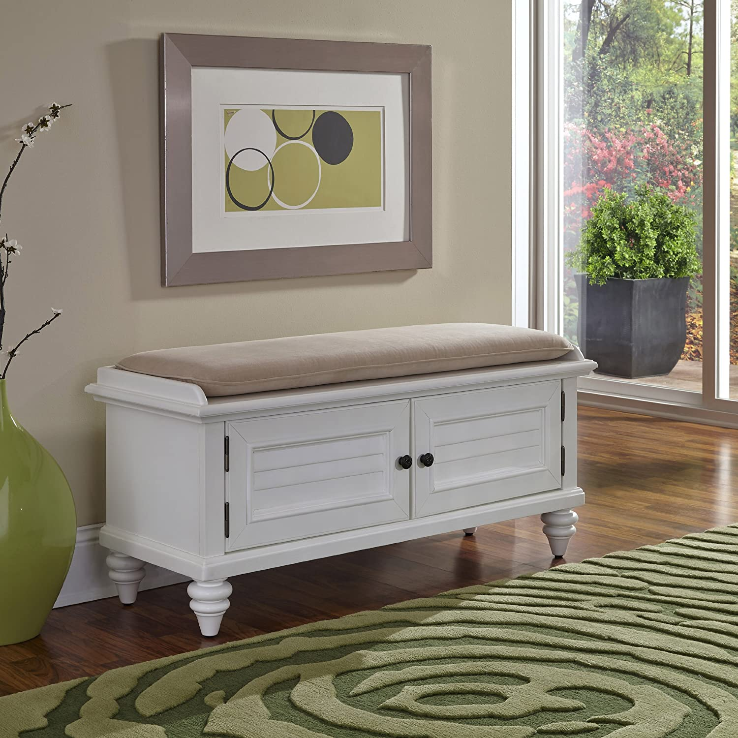 amazoncom home styles bermuda upholstered bench brushed white kitchen u0026 dining
