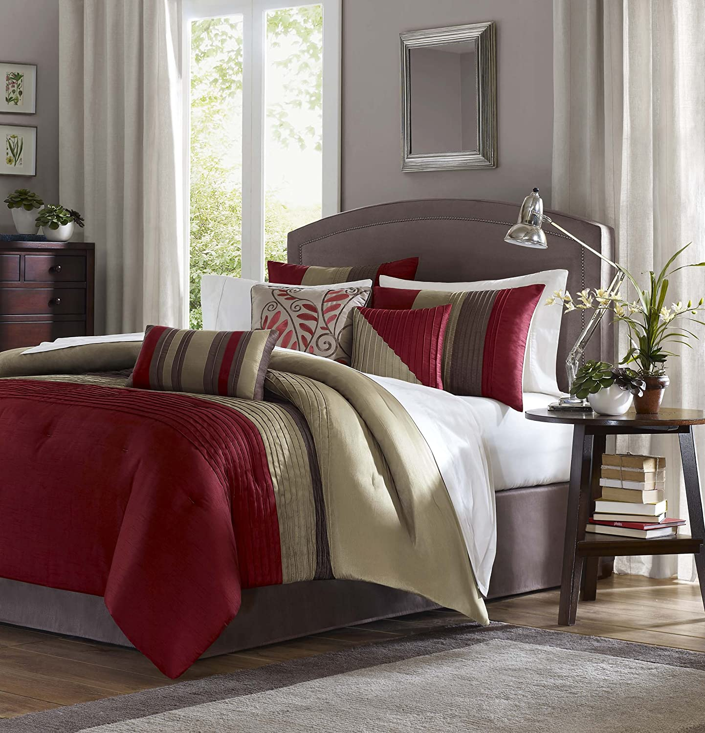Madison Park Tradewinds 7 Piece Comforter Set, Queen, Red
