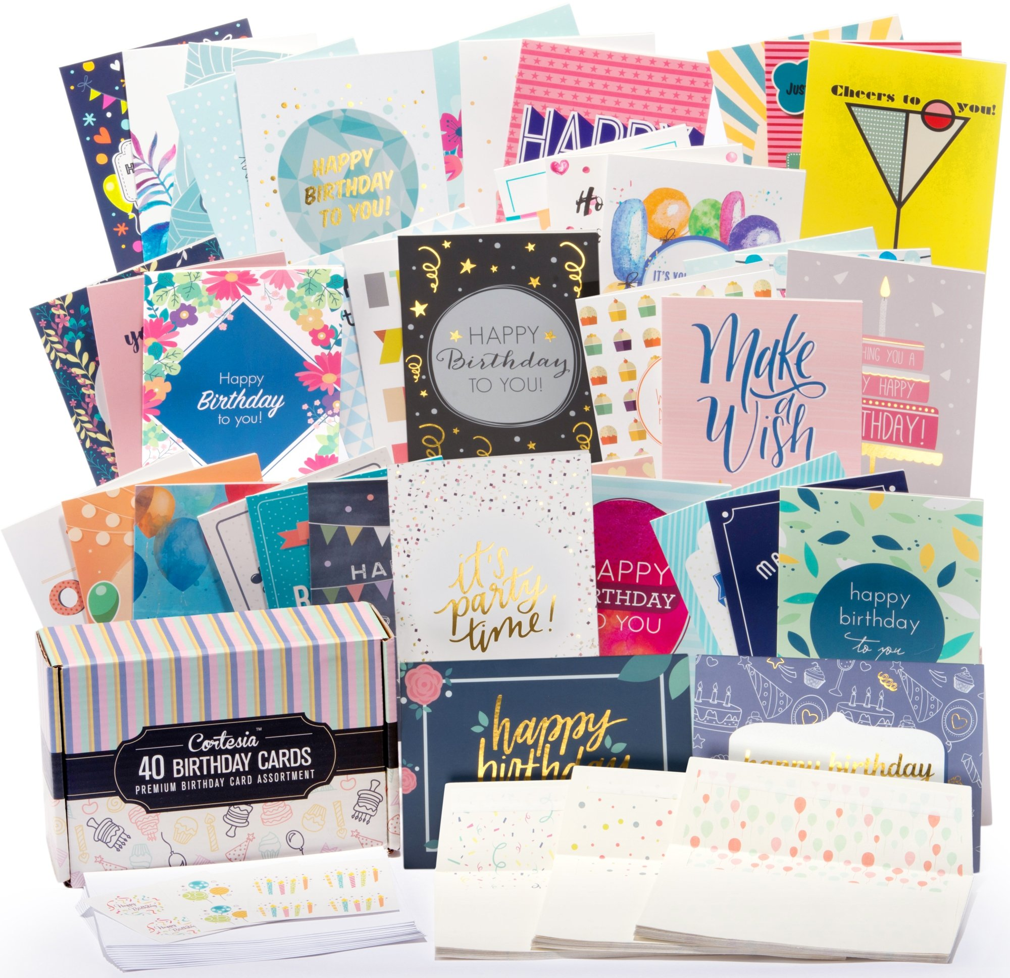 Happy Birthday Cards Bulk Premium Assortment - 40 UNIQUE DESIGNS, GOLD EMBELLISHMENTS, ENVELOPES WITH PATTERNS. The Ultimate Boxed Set of Bday Cards. by Cortesia