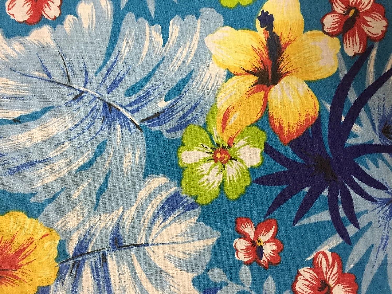 Amazon Com Aqua Hawaiian Floral Print Poly Cotton Fabric Sold