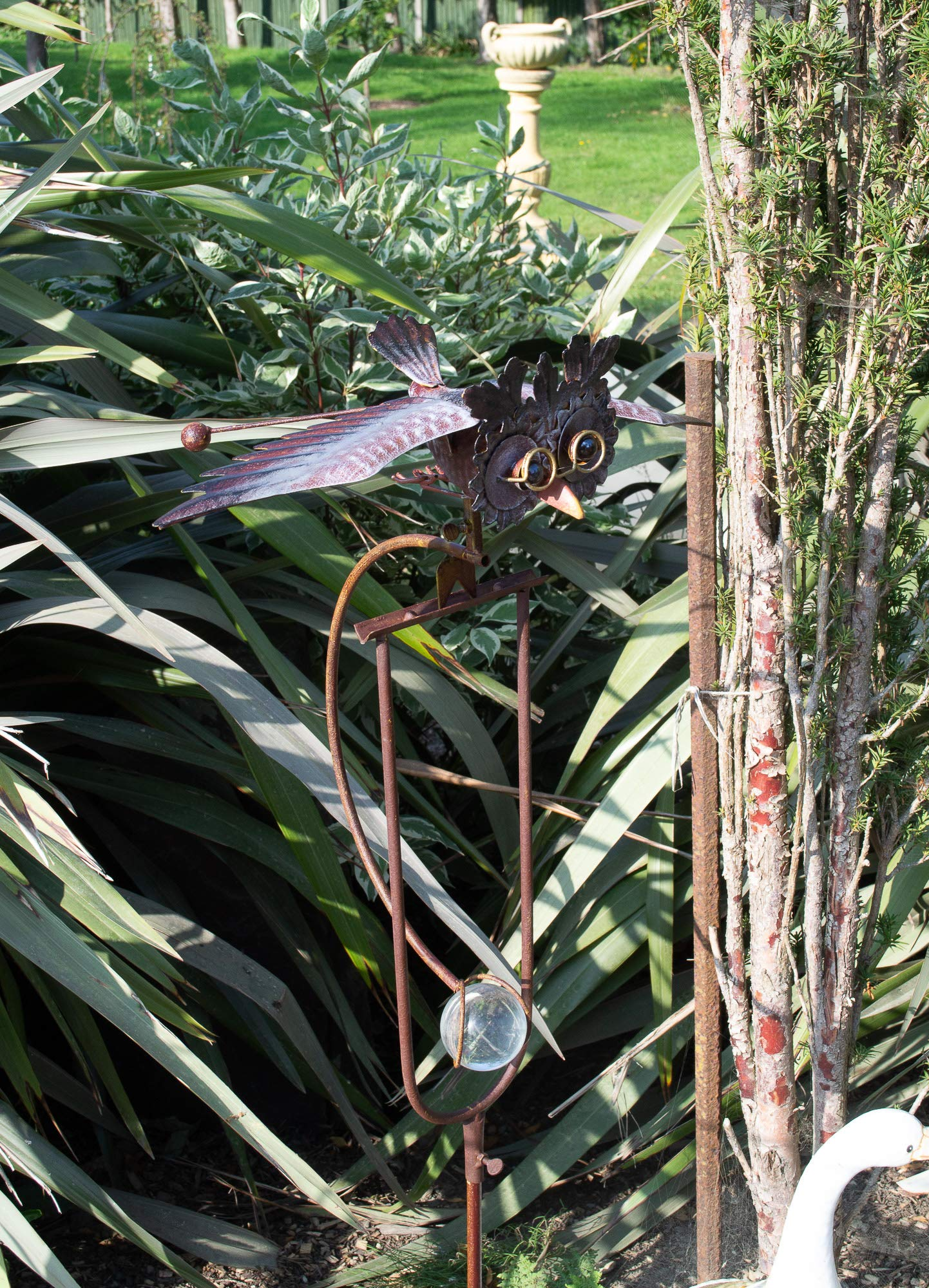 east2eden Rocking Balancing Flying Owl or Crow Metal Garden Wind Rocker Spinner Ornament e2e Rocking Owl
