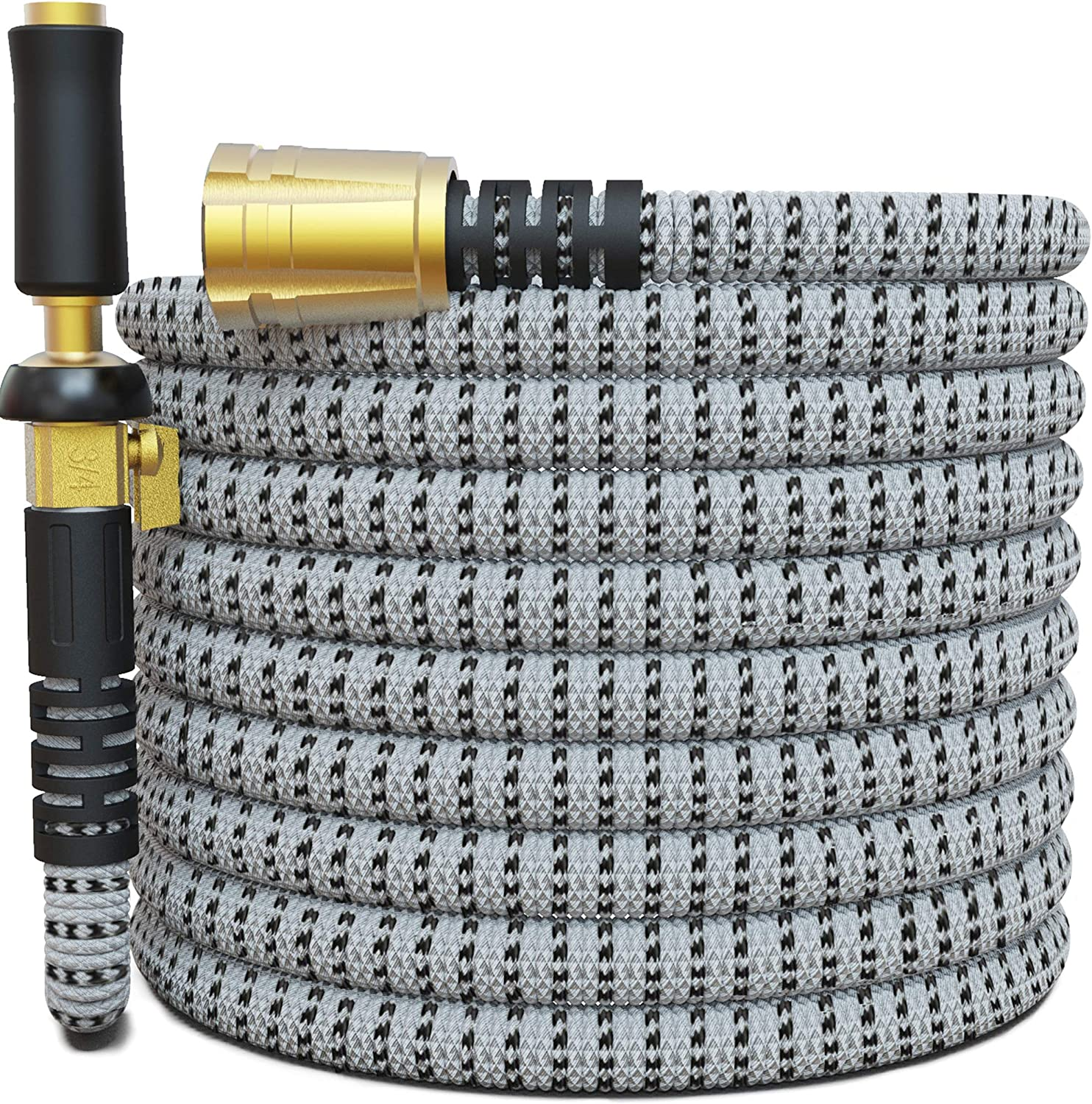 "TITAN 75FT Garden Hose - All New Expandable Water Hose with Triple Latex Core 3/4"" Easy Removal Solid Brass Fittings Expanding Extra Strength Fabric Flexible Hose with Jet Nozzle and Washers (H)"