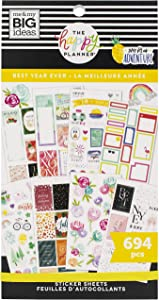 The Happy Planner Sticker Value Pack -Scrapbooking Supplies - Best Year Ever Theme - Multi-Color - Great for Projects, Scrapbooks & Albums - 30 Sheets, 694 Stickers Total