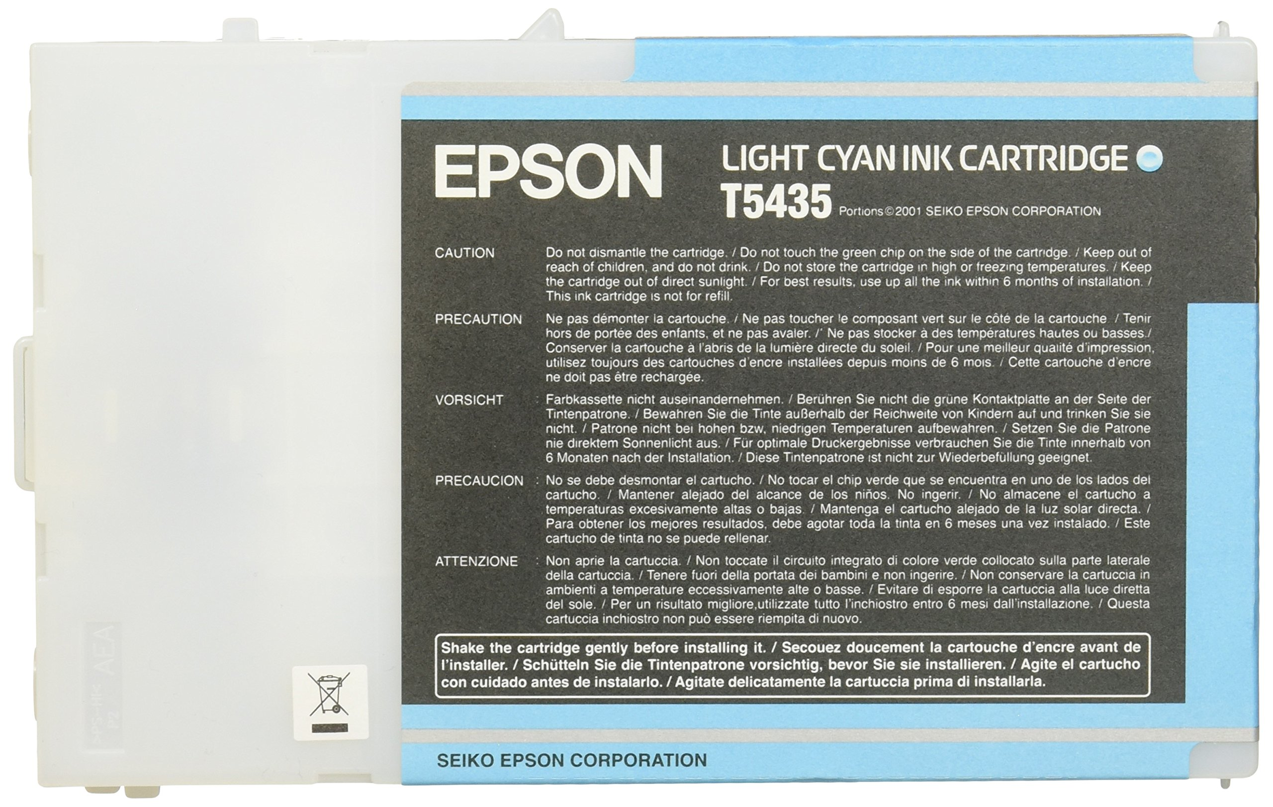 Epson Inkjet Print Cartridge, T543500, 3800 Page Yield, Light Cyan EPST543500