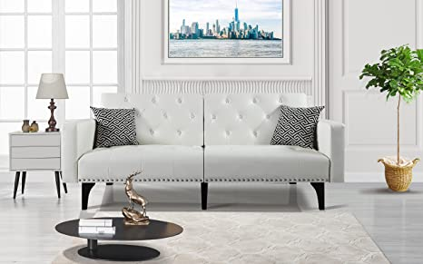 Amazon.com: Moderno sofá de piel, diseño de tuerca con borde ...