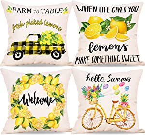 CYNOSA Summer Lemon Pillow Covers 18x18 Inches Set of 4, Yellow and Black Buffalo Check Truck Bicycle Summer Decorations Farmhouse Throw Pillowcase Cushion Case Home Decor