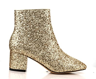 CR Tal-1 Gold Glitter Chunky Low Block Heeled Short Glitter Ankle Dress Boots