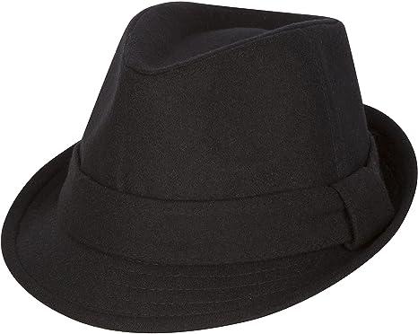 02446442f82df7 Sakkas F1218 Original Unisex Structured Wool Fedora Hat - Black - S/M