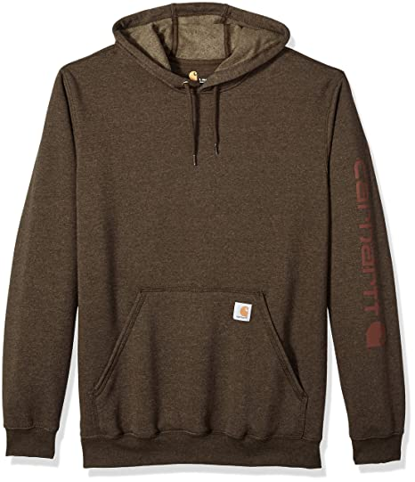 cde9c85d3 Carhartt Men's Big and Tall Big & Tall Midweight Signature Sleeve Logo  Hooded Sweatshirt