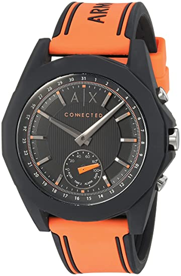 3861bfbe0e64 Armani Exchange Men s AXT1003 Orange Silicone Connected Hybrid Watch ...
