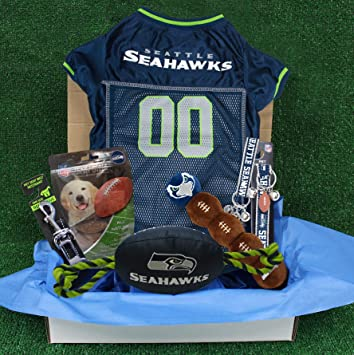 e088788d622 NFL Seattle Seahawks PET GIFT BOX with 2 Licensed DOG TOYS, 1 Logo-engraved