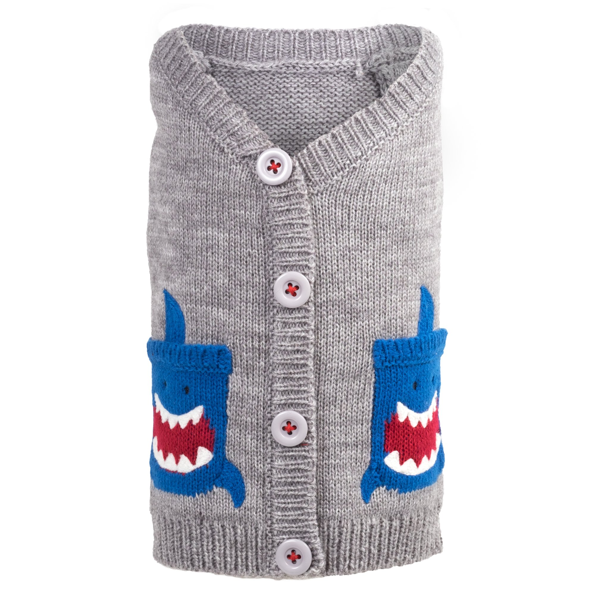 The Worthy Dog Shark Cardigan for Dogs, XX-Large, Gray