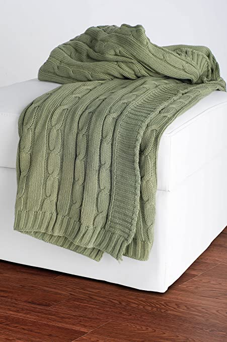 Amazon Rizzy Home THRTH40OL40 Cable Knit Throw Blanket Enchanting Olive Green Throw Blanket